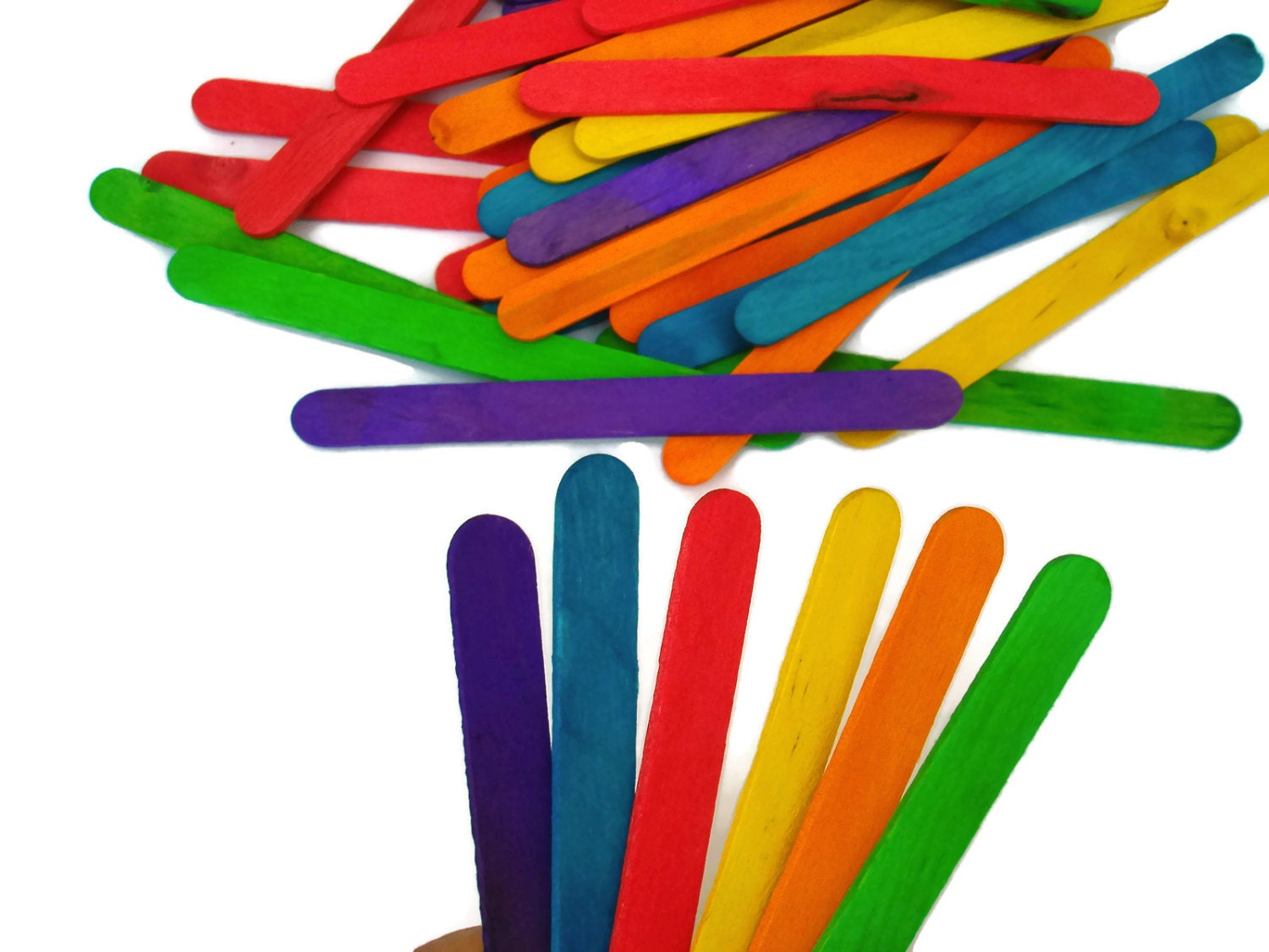 Round wooden sticks for crafts - 50 Colored Craft Sticks Mixed Intense Colors Natural Wooden Sticks In Sets Of 50 Units Popsicle Sticks
