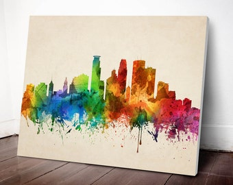 Minneapolis Skyline Canvas Print, Minneapolis Cityscape, Minneapolis Art Print, Home Decor, Gift Idea, USMNMI05C