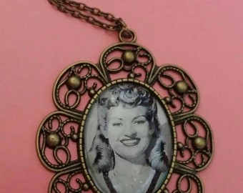 Vintage kitsch style Betty Grable large pendant necklace handmade statement