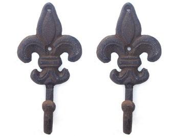 2 Fleur De Lis Wall Hooks Towel Hook Key Hook Victorian Home Decor Rustic Iron