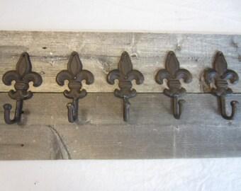5 Fleur De Lis Coat Hat Wall Hall Tree Hooks Rustic Cast Iron Vintage Antique Victorian Fluer Farm Ranch Rack
