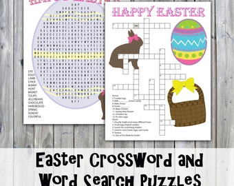 Easter Crossword Puzzle and Word Search - Party Game Printables - Instant Download