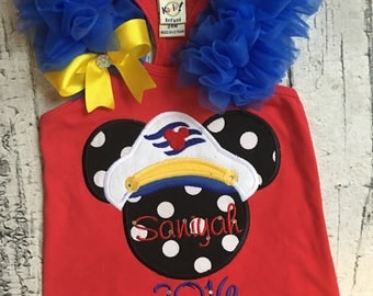 Personalized Mickey Minnie cruise captain tank