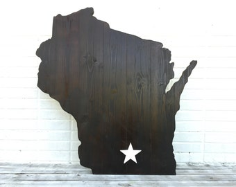 Wisconsin Wooden Map Decor. 4th of July Gift Idea. State Home Sign. Wood 3D Map Birthday Gift Idea