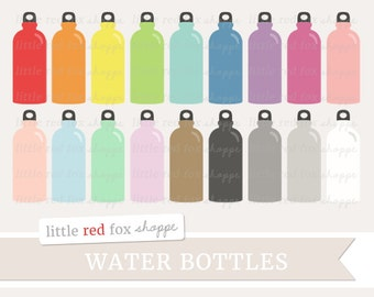 Water Bottle Clipart, Camping Clip Art Fitness Health Exercise Hyrdate Workout Work Out Cute Digital Graphic Design Small Commercial Use