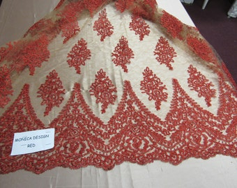 Magnificent French design bridal wedding embroider fabric mesh lace red. Sold by yard.