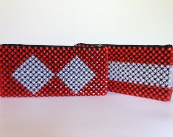 Sparkle Clutch - Bright Red/White - Diamond or Stripe
