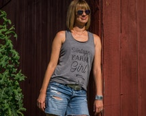 XL Vintage Farm Girl Tank, tank top, racer back, Tank with saying, T shirt gift, gift for her, T shirt