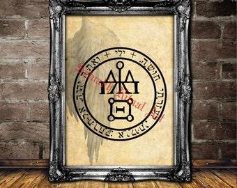 Jeliel angel seal print, Jeliel angel sigil poster, angelic illustration, magic art, occult poster, powerful home decor, mysticism #365.2