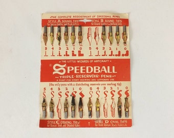 19 Vintage Speedball Pen Nibs, Steampunk Altered Art Supply, Craft Supply, Calligraphy Tool