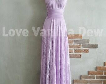 Bridesmaid Dress Infinity Dress Lilac Lace Floor Length Maxi Wrap Convertible Dress Wedding Dress