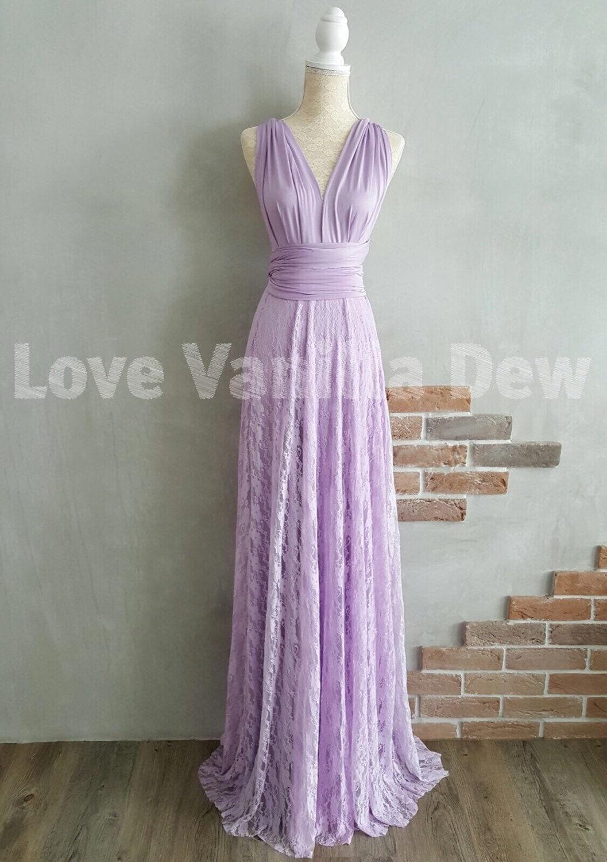 Bridesmaid Dress Infinity Dress Lilac Lace Floor Length Maxi