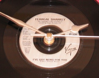 "Fergal Sharkey I've got news for you 7"" vinyl record clock"
