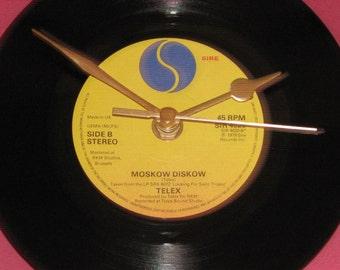 "Telex Moskow diskow   7"" vinyl record clock"