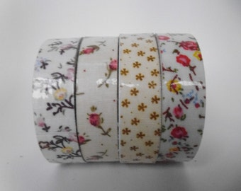 4 Rolls Cotton Fabric Adhesive Tape Decorative Pnk Floral