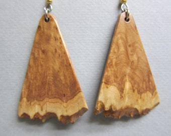 Raw Edge Corrugata Burl Earrings, Exotic Wood handmade crafted Ecofriendly ExoticwoodJewelryAnd