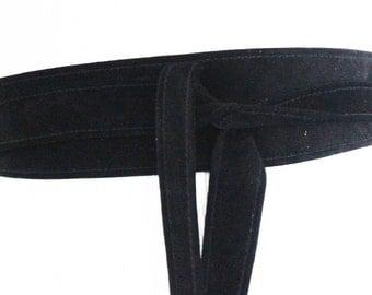 Black Suede Narrow Obi Belt  | Plus size belts | Coat Tie Belt | Leather Black Tie belt | Thin Leather Suede Belt|