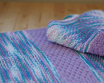 Knitted Towel - Hand knit Kitchen or Bath Towel Purples & Blues in 100% multi-colored blues/purples cotton yarn with stripes