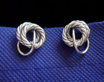 Trifari Silver Earrings are Vintage Designer Clip Earrings are Trifari Clip Earrings