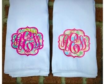 Set of 2 Monogrammed Burp Cloths