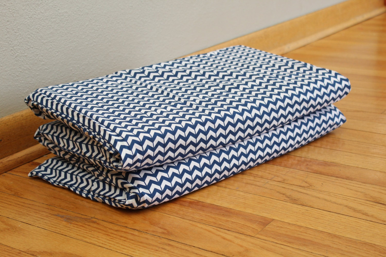 Blue White Chevron Nap Mat Cover Kindermat Cover Fits Size