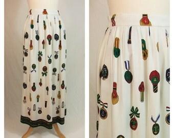 80s maxi skirt. White and medal war print skirt. NORDSTROM skirt. Size M.