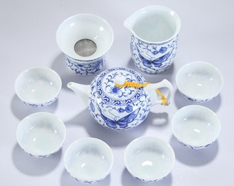 Dehua Porcelain Bule and White Ceramic Teapot Kungfu Tea Set