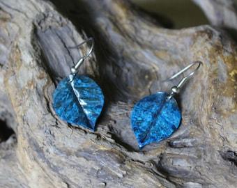 Copper Patina Leaf Earrings, Leaf Earrings, Patina Earrings, Copper Earrings, Colorful Earrings