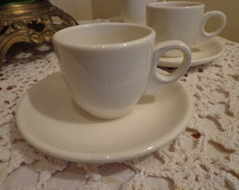 Homer Laughlin White Trio of Demitasse Cup and Saucers, White Set of 3 Demitasse , Espresso , Cappucino Cups and Saucers