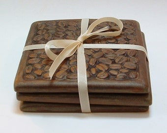 Coffee Coasters set of 3 /coffee bean French Roast coaster/tile coaster set