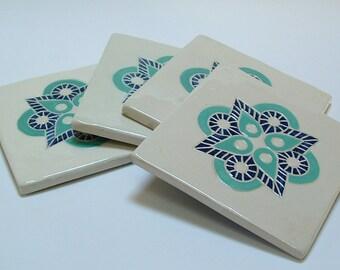 Tile Coaster set of 4, turquoise & dark blue Geometric/tile coasters /gift set