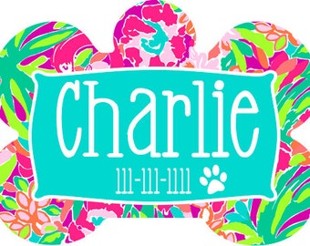 Lilly Pulitzer Inspired Pet Tag, Custom Pet Tag, Custom Pet ID Tag, Personalized Pet Tag, Pet Tag, Pet ID Tag, Dog ID Tag, Dog Collar Tag