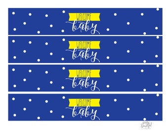 Welcome Baby Water Bottle Labels, Baby Shower, Blue and Yellow, Baby Boy