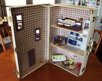 Vintage Suitcase Dollhouse: Upcycled Gorgeous Unique Dollhouse