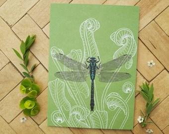 Dragonfly & fern greetings card