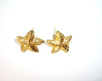 Starfish Earrings, 14K Yellow Gold, Posts, Vintage