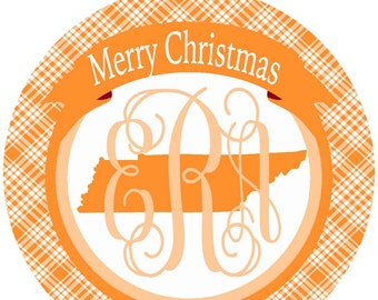 Tennessee Ornament. Monogrammed Tennessee Christmas Gift! Great Tennessee Stocking Stuffer!