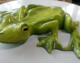 Frog Sculpture - Hand Built and Hand Glazed Ceramic Sculpture - JArchambaultArt