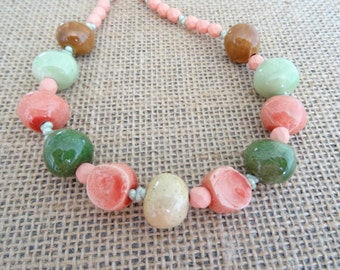 Ceramic Necklace, Czech Glass Necklace, Ceramic Pebbles Necklace, Coral Necklace, Green Necklace, Olive Necklace, Brown Necklace, Toggle.
