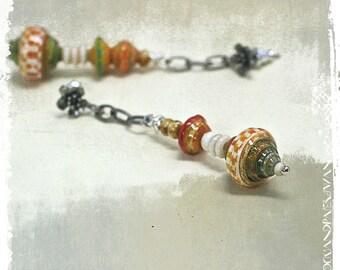Gypsy earrings, Tribal earrings, Boho dangle earrings for women, Yellow bead earrings, OOAK One of a Kind Jewelry, Paper gift for her