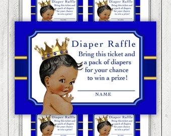 Ethnic Prince Diaper Raffle Ticket African American Prince Diaper Raffle Tickets Royal Blue Gold Prince Diaper Raffle Tickets