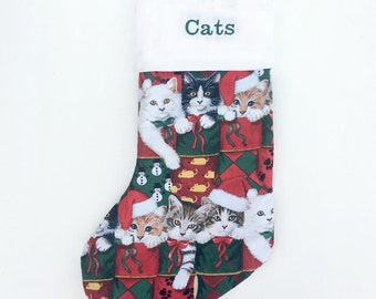 Personalized Cat Christmas Stocking - Personalized Cat Stocking - Personalized Pet Stocking - Cat Stocking Christmas - Cat Stocking