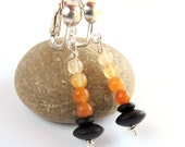 Black and Orange Stone Earrings, Jade Earrings, Onyx Earrings, Sterling Silver Clip Earrings, Halloween Jewelry, Beaded Clip On Earrings