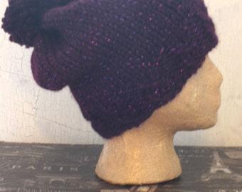 Pom Pom Hat, Slouch Hat, Glitter Beanie, Women's Hat, Knit Pom Pom Hat, Purple Hat, Chunky Slouch Beanie, Winter Accessory, Knit Hat