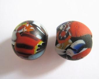 2 Vintage Venetian glass beads. 18mm x 16mm