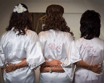 Bride robe , bridal party robe , Wedding robe , Satin Robe , Dressing Gown , Personalised robe , bride , robe , woman clothing , robe
