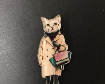 Fashion Stylish pussy cat wears trench coat handbag Harjuku funky quirky kitsch brooch pin