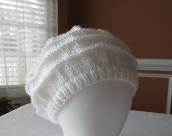 White Hat, Ladies, Teens, Fall, Winter, Hand Knit