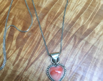 Sterli g silver and coral heart necklace