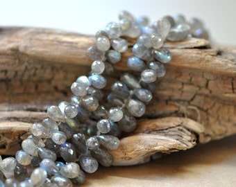 Labradorite Faceted Tear Drop Briolettes, 7-9 mm, 6 beads